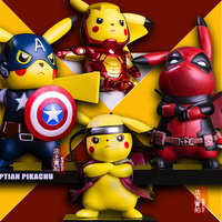 Pikachu Cosplay Deadpool Captain America Iron Man Super Mario Naruto Kakashi PVC Figure Collectible Model Toy