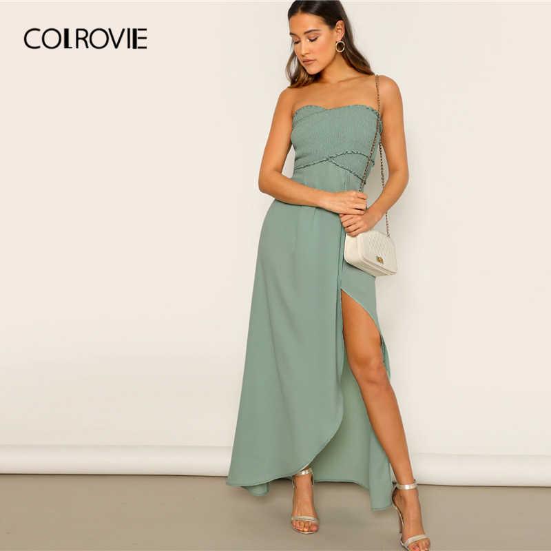 COLROVIE/зеленое платье с оборками и разрезом с оборками, сексуальное платье без рукавов для женщин, 2019, без рукавов, высокая талия, Vestidos, праздничные Макси платья