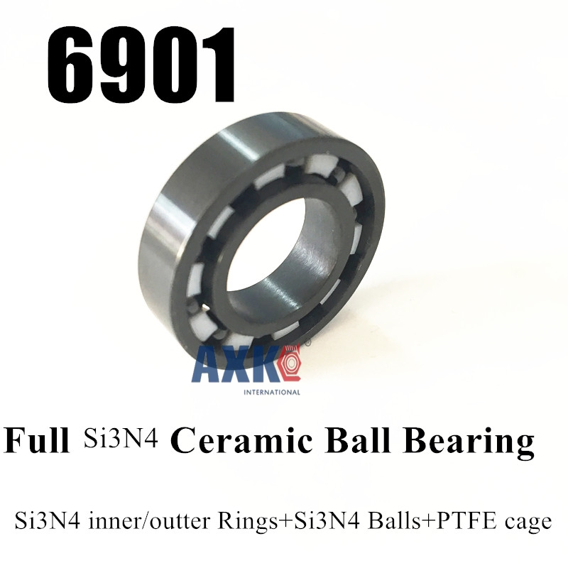 Free Shipping 6901 61901 SI3N4 Full ceramic bearing ball bearing  12*24*6 mm free shipping 6901 61901 zro2 full ceramic bearing ball bearing 12 24 6mm