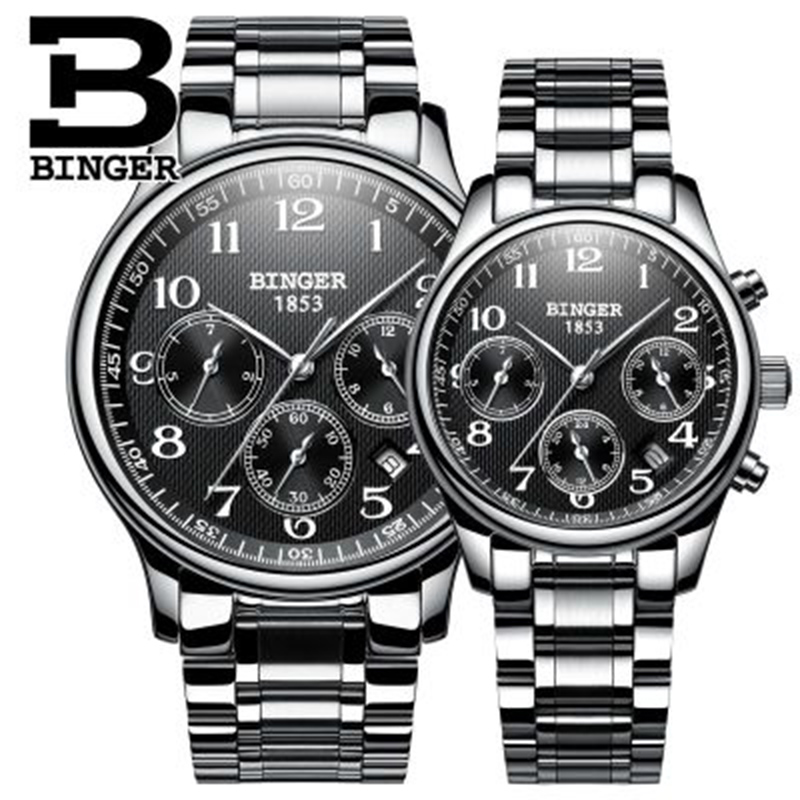 Genuine Switzerland BINGER Brand Men Women Lovers Couple Automatic Mechanical Self-wind Watch Casual Waterproof Full Steel Table