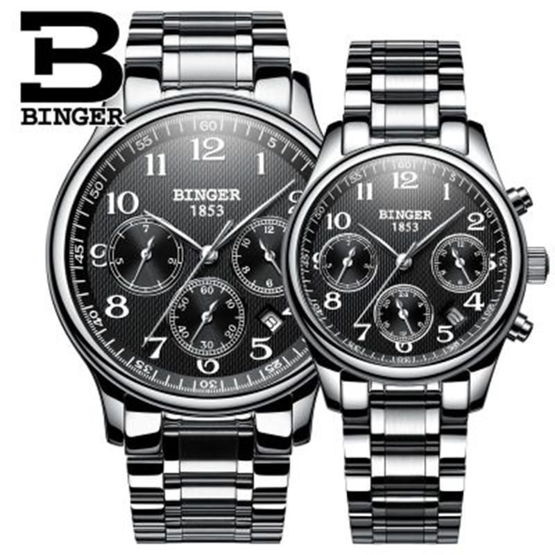 Genuine Switzerland BINGER Brand Men Women Lovers Couple Automatic Mechanical Self-wind Watch Casual Waterproof Full Steel Table
