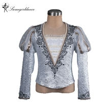 silver Man Fashion ballet boy dance costume professional male ballet flannelet top shirt,men's ballet top ballet jacket BM0003A
