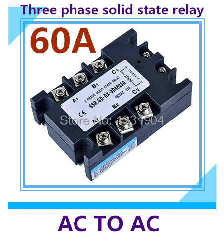 free shipping AC to AC SSR-3P-60AA 60A SSR relay input 90-280V AC output AC380V Three phase solid state relay 4 20ma to ac 28 280v 25a one phase 35mm din rail socket solid state relay
