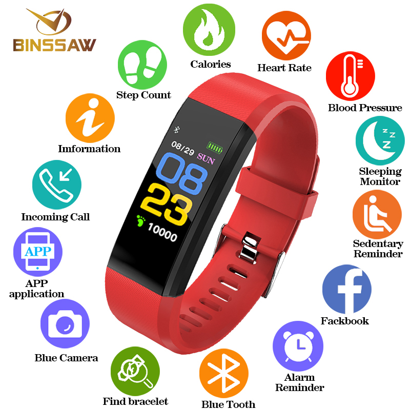 BINSSAW nuevo de las mujeres de los hombres chico reloj inteligente Monitor de ritmo cardíaco sangre presión rastreador de Fitness Bluetooth relojes deportivos para ios android