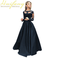 Black Two Pieces Evening Gowns Jewel Neck Long Sleeves Lace Prom Dresses 2 Pieces Crop Top