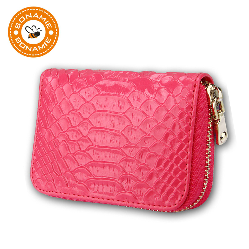 BONAMIE Luxury Genuine Leather Women Serpentin Card Holder Wallets Zipper Credit Card Bag Card Case Female Pillow Coin Purse