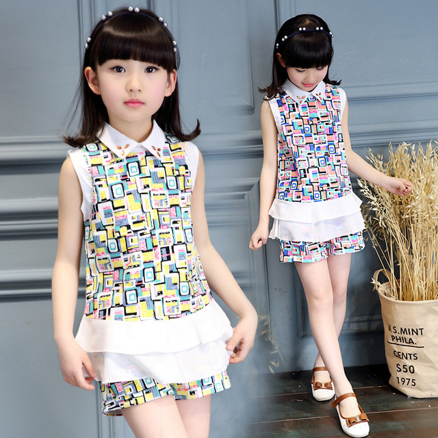 ab1754a90b987 2016 Brand New Baby Girls Summer Wear Kids Clothes Sets Sleeveless T-shirt  + Shorts Teenage Girls Clothing Sets Ropa Mujer Sale