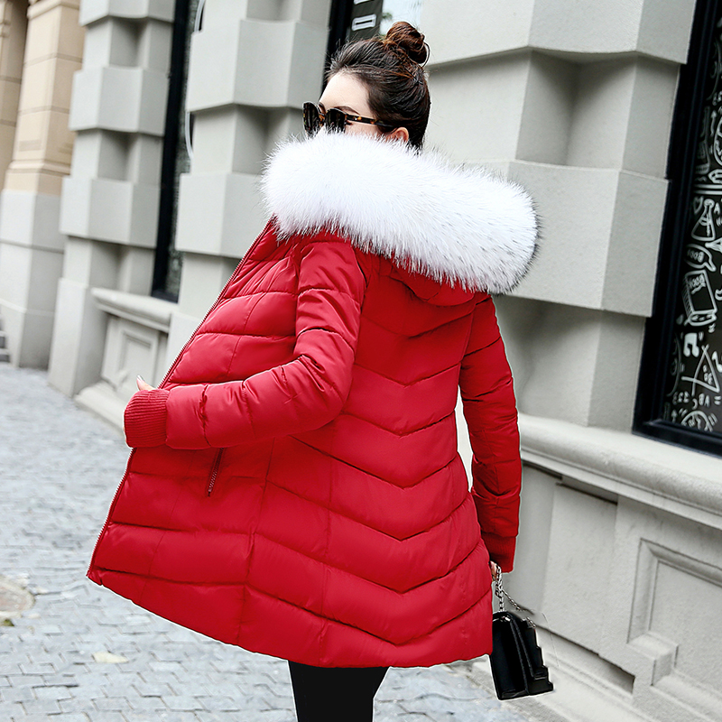 GZGOG Jacket Coat Outwear Cotton-Padded Big-Fur-Collar Thicken-Down Black Long Fashion Winter