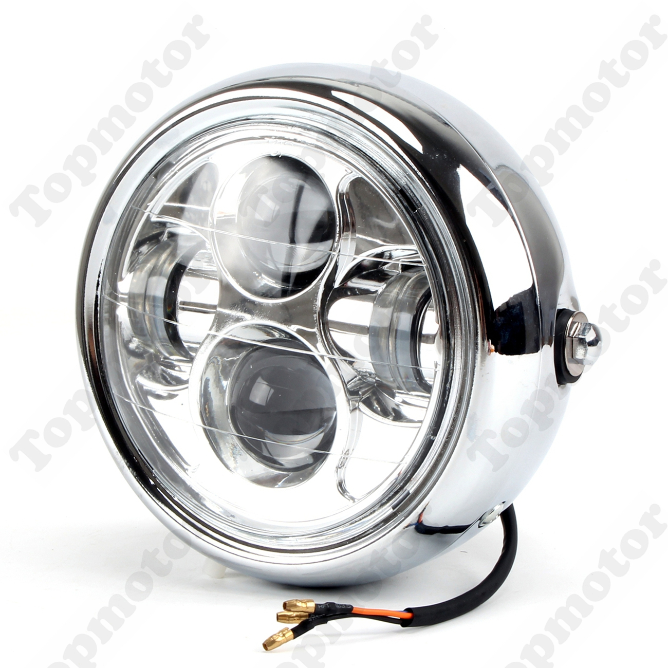 UNDEFINED Universal Chrome Led Headlight Motorcycle Bike Projector Daymaker LED 6.5