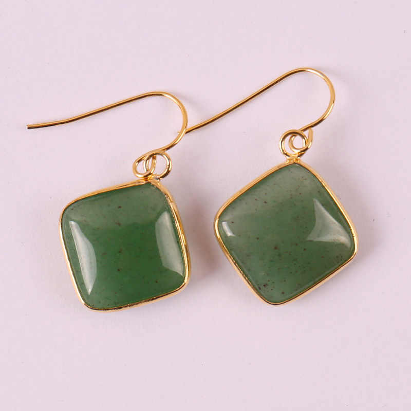 Natural Green Aventurine Stone Dangle GEM Earrings Jewelry For Gift T151