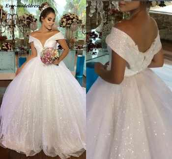 Luxury Princess Wedding Dresses 2019 Off Shoulder Shiny Ball Gowns Bridal Gown Lace Up Long Vestido de Noiva Robe De Mariee - DISCOUNT ITEM  20% OFF All Category