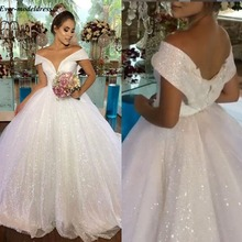 Ball-Gown Wedding-Dresses Robe-De-Mariee Off-Shoulder Lace-Up Back-Long Shiny Princess