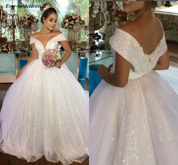 Luxury Princess Wedding Dresses 2021 Off Shoulder Shiny Ball Gown Bridal Lace Up Long Vestido de Noiva Robe De Mariee - discount item  30% OFF Wedding Dresses