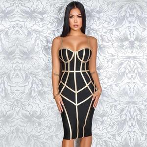 Image 5 - Adyce 2020 nuevo verano Bodycon vendaje Vestido Mujer Sexy tirantes finos sin mangas Club hasta la rodilla vestido de fiesta, de noche, de celebridad