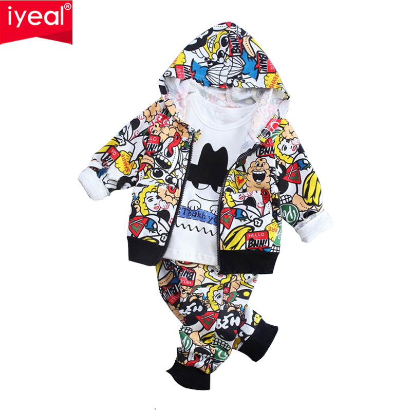 IYEAL Kid Baby Boy Girls Clothes Sets Fashion Print Cartoon Casual Children Baby Hooded Jacket + T shirt + Pants Outfit 1 - 4Y baby boy girls kid cartoon clothing pajamas sleepwear sets nightwear outfit children clothes