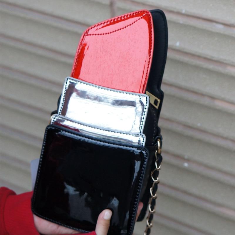 on sale 5191e cb862 High-quality fashion women s new design leather pu lipstick shape ladies  bag shoulder bag chain leisure wallet clutch