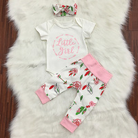 2018 Sweet Baby Girl 3pcs Clothes Set Little Gril Letter Romper Floral Pant Headband Newborn Clothing