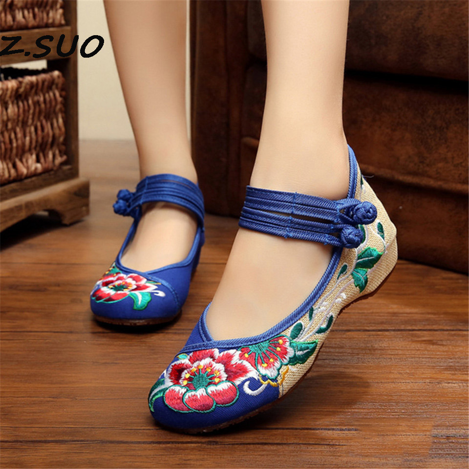2017 Spring And Summer Chinese Wind Low To Help Hibiscus Flowers Tendon Embroidered Cloth Shoes Women'S Shoes spring and summer 2018 new chinese