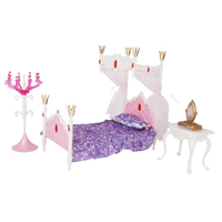 Doll House Miniature Furniture Deluxe Princess Bed Bedroom Set For Barbie