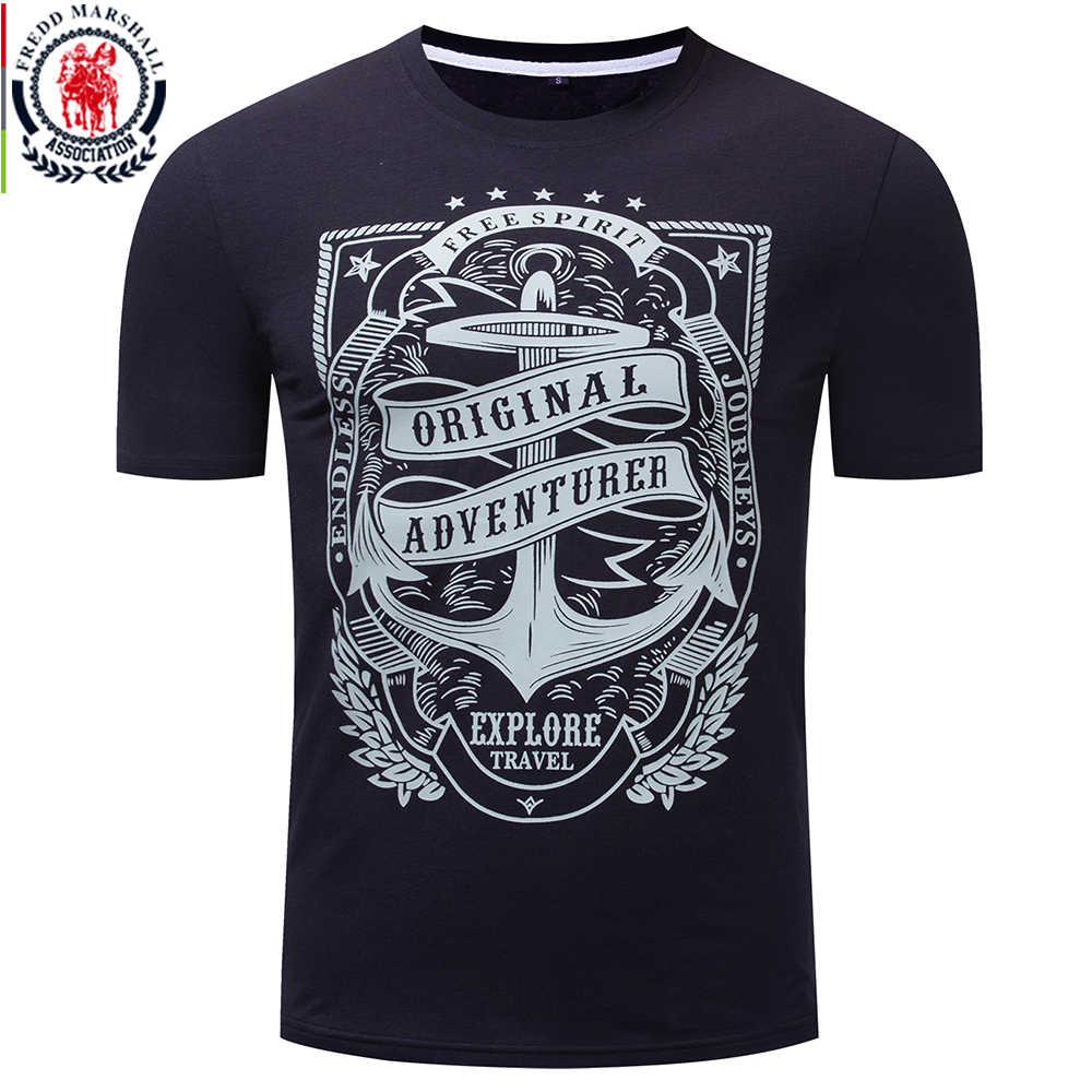 Fredd Marshall 2019 Summer New T Shirt Men 100% Cotton Short Sleeve Anchor Print Tshirt O-neck Casual Letter Tee Shirt Homme 323