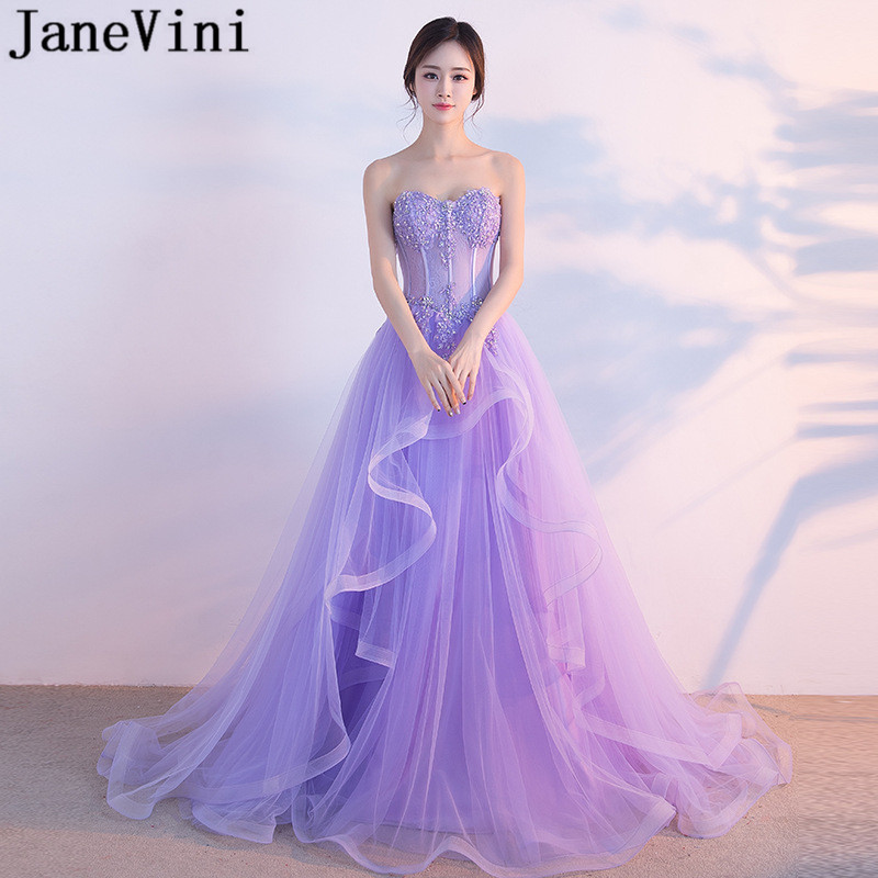 JaneVini 2018 Princess Beaded Prom Dresses Long Lace Sequins Light Purple Wedding Party Gowns Bridesmaid Dress Tulle Sweep Train
