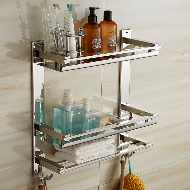 Mttuzk diy bathroom shelves 304 stainless steel 3 layer - Bathroom shelves stainless steel ...