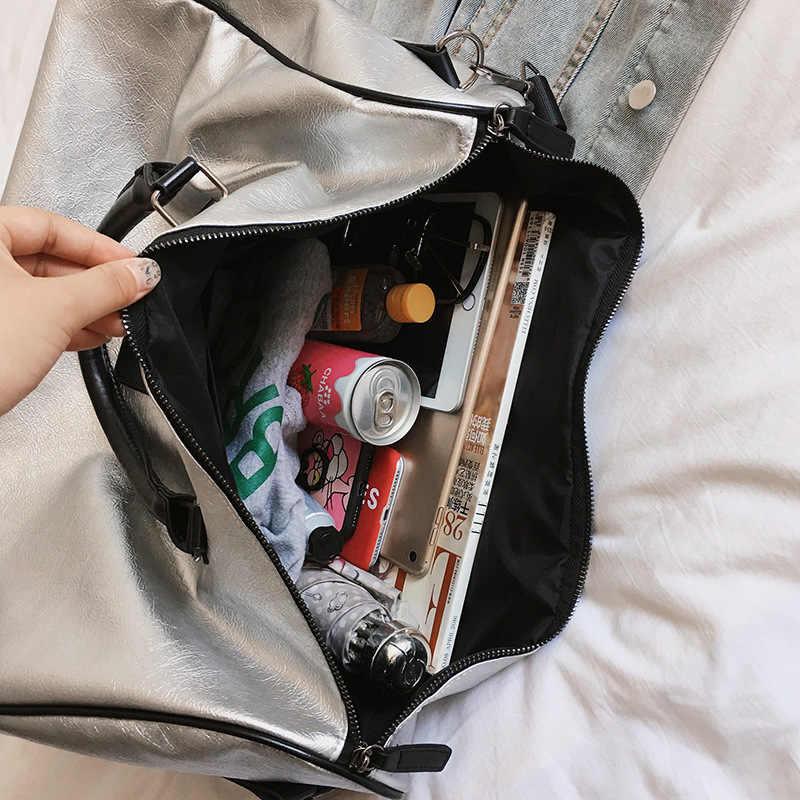 4ab8485efa78 ... Женские дорожные Сумки из искусственной кожи Корейская версия большой  мешок повседневное сумки легкий фитнес тенденция диких ...