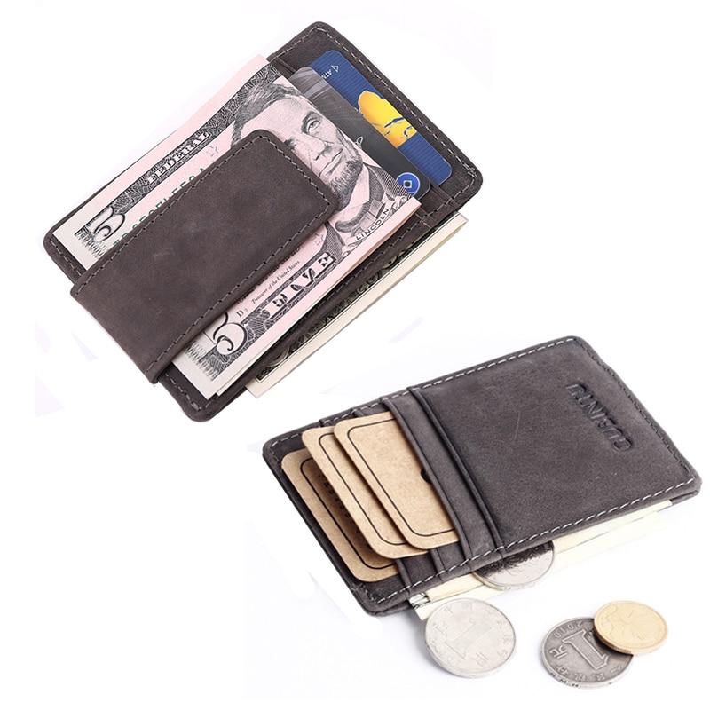 Vintage Äkta Läder Slim Mäns Money Clip Plånbok Kreditkort för Man Small Purse Med Coin Bag Fram Ficka Klämma för pengar