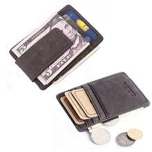 Cuero Genuino de la vendimia de Los Hombres Delgados de Dinero Clip de la carpeta de Crédito bolsillo frontal Del Bolso de tarjetas pequeño Monedero Con Monedas pinza para dinero
