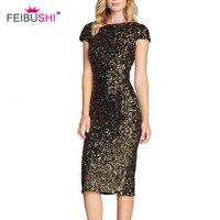 FEIBUSHI Women Summer Dress O Neck Paillette Sequins Short Sleeve Bodycon Slim Pencil Party Dresses Night