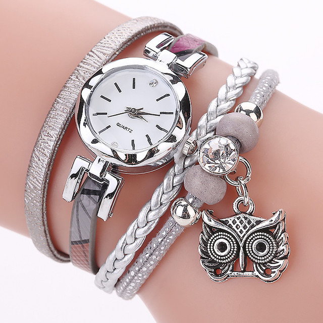 susenstone Fashion Women Girls Analog Quartz Owl Pendant Ladies Dress Bracelet W