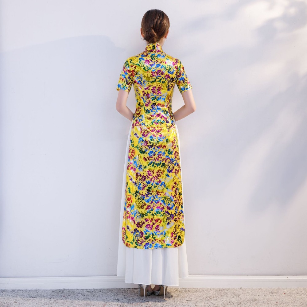 Fashion Yellow Dress Long Cheongsam Wedding Qipao Modern Formal Chinese  Dresses Women Traditional Qipao Evening Dress -in Cheongsams from Novelty    Special ... 893c439f36c0