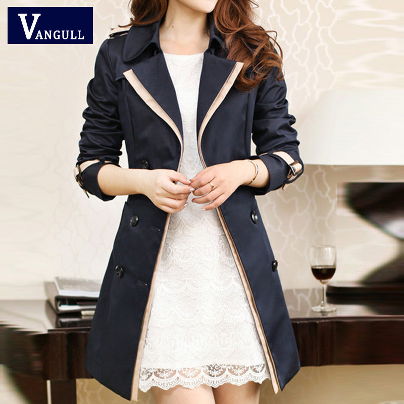 Vangull 19 Fashion Women Thin Trench Coat Turn-down Collar Double Breasted Patchwork Long Trench Coat Slim Plus Size Wind coat 2