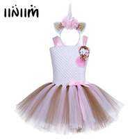 Kids Girls Unicorn Outfit Sleeveless Ballet Tutu Dress With Hair Hoop Halloween Party Costume Dancer Set