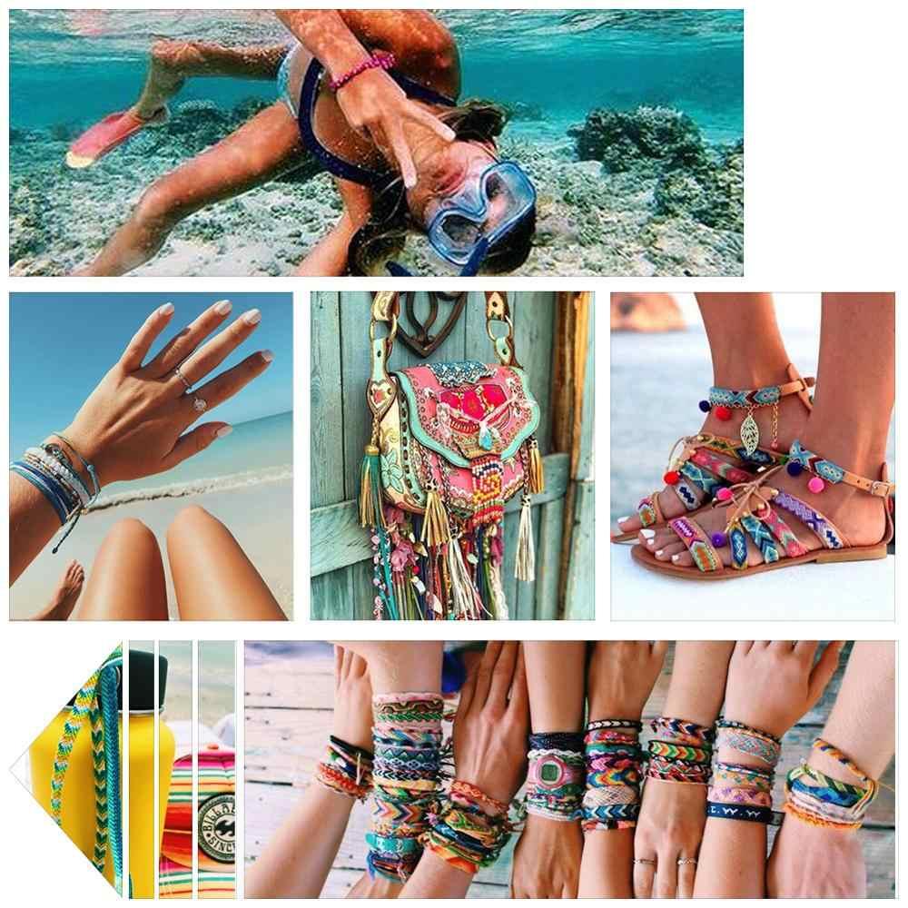 Royalbeier 10 Cái/lốc Tay Bohemian Brasil Nhiều Màu Sắc Cầu Vồng Dệt Bện Dây Vòng Tay Nữ Bé Gái Trang Sức SZ0592