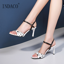 Women Sandals White Dot Thin Heel Shoes Sweet Open Toe Black Striped Ankle Strap High Heel Shoes black red green pink thin belt ankle strap high heel sandals for women ladies solid open toe super high metal thin heel sandals