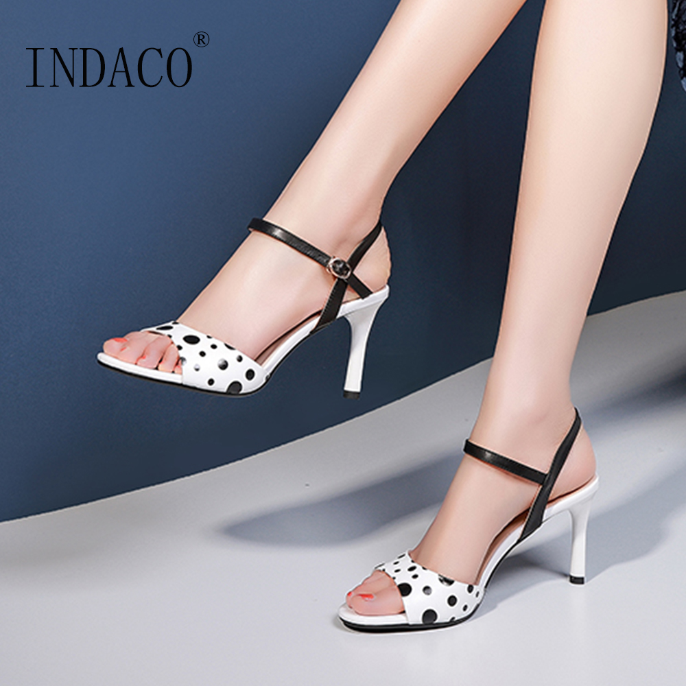 Women Sandals White Dot Thin Heel Shoes Sweet Open Toe Black Striped Ankle Strap High Heel Shoes