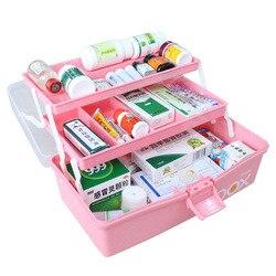 Tres niveles de caja de medicina para la primera ayuda Kit plegable de plástico médico pecho organizador de maquillaje y cajas de almacenamiento