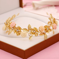 140 Bridal Headdress Hair Accessories Retro Matte Gold Porcelain Flower Alloy Rhinestone Bridal Accessories Bridal Jewelry