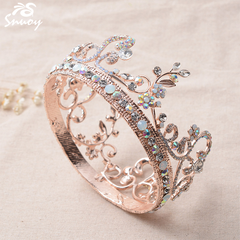 Crown Wedding Hair Accessory: Snuoy Rose Gold Full Round Tiara Crowns Pink Wedding Hair