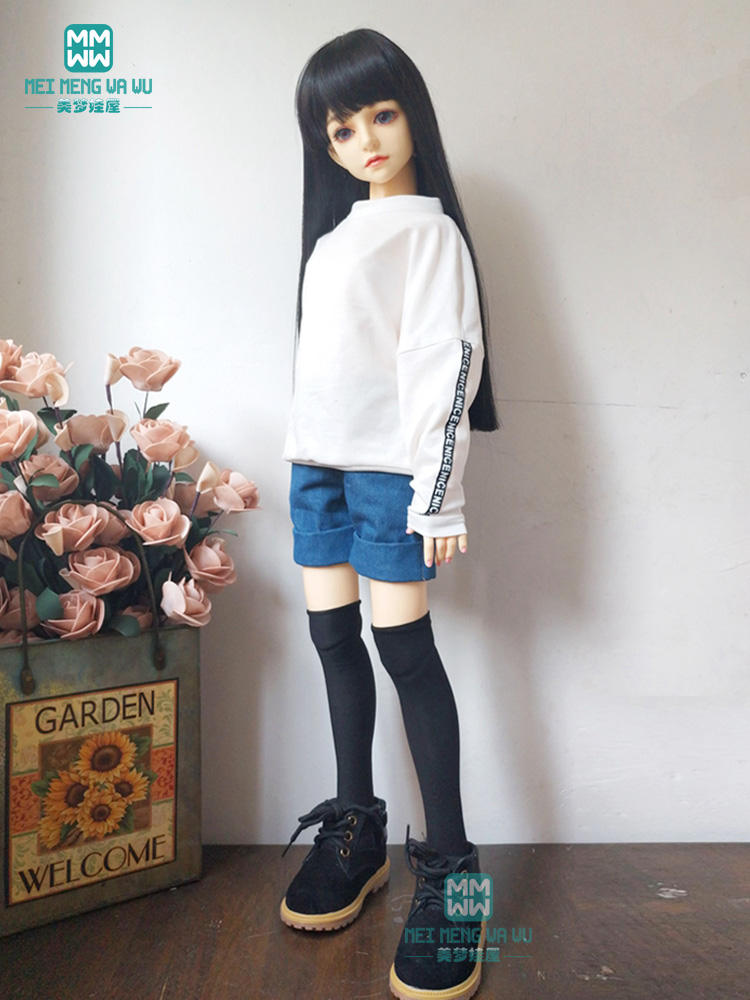 Clothes For Doll Fit 1/3 BJD SD13 SD14 Doll Fashion Hooded Sweatshirt Casual Wear + Denim Shorts