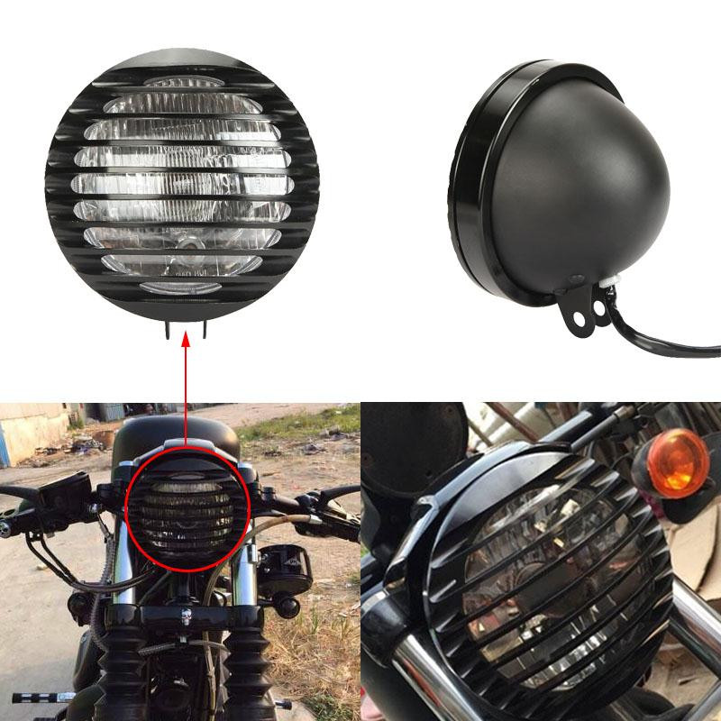 Motorcycle Bullet Headlight W Grill Cover For Harley Sportster XL883 1200