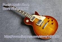 Neue Ankunft Tiger Flamme Finish 1959 R9 LP E-gitarre China Chrome Hardware Gitarre Lefty lager