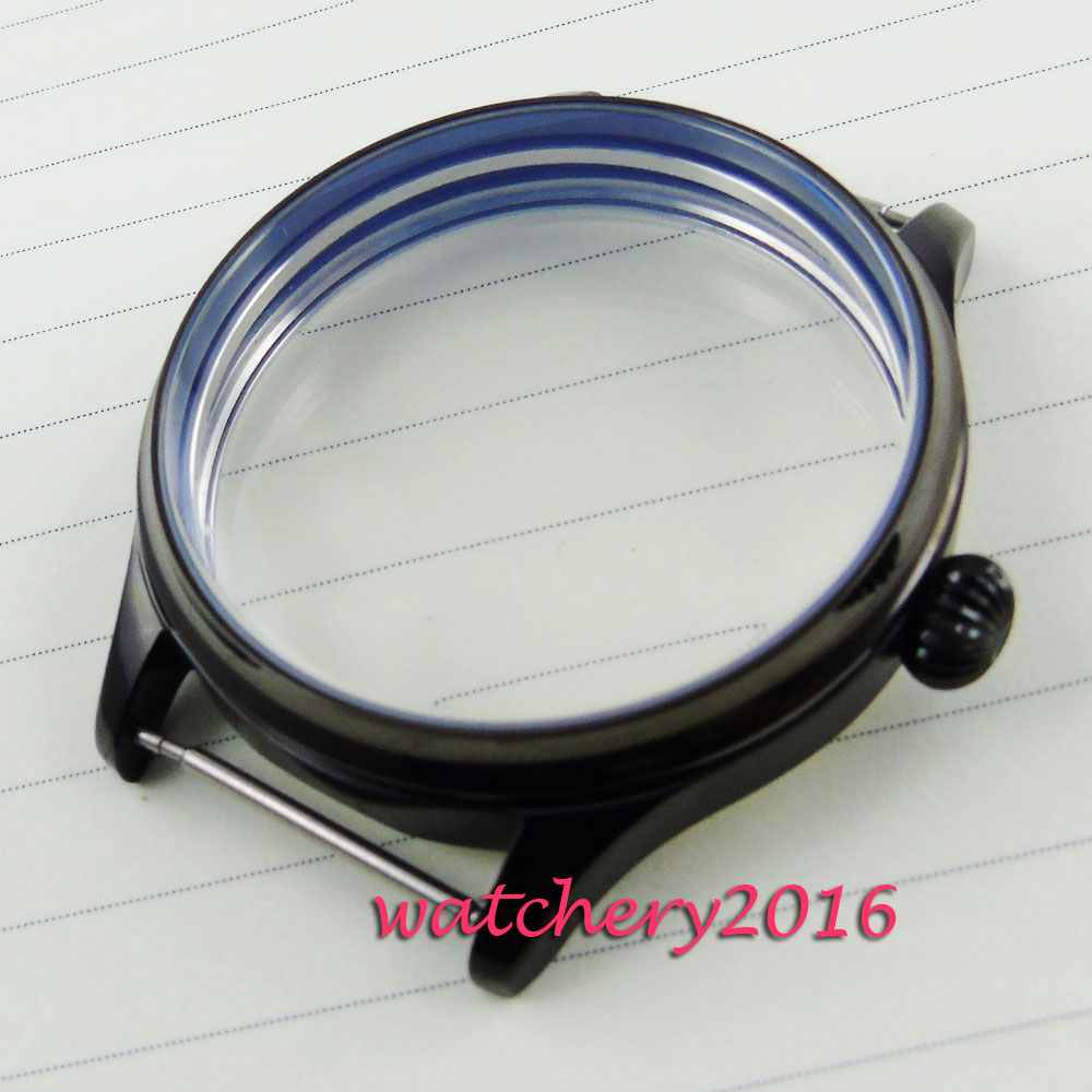 Newest Hot Fashion 44mm Parnis Stainless steel black PVD case fit 6497 6498 Mechancial hand winding  Stainless Watch Case ysdx 398 fashion stainless steel self stirring mug black silver 2 x aaa
