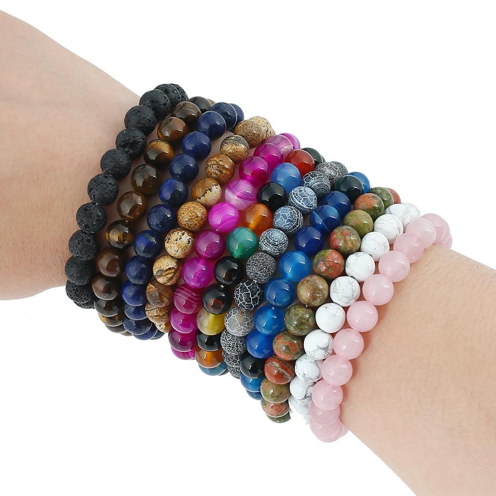 Beaded Charm Bracelets: Hot Sale Natural Stone Beads Bracelet Women Men Beaded