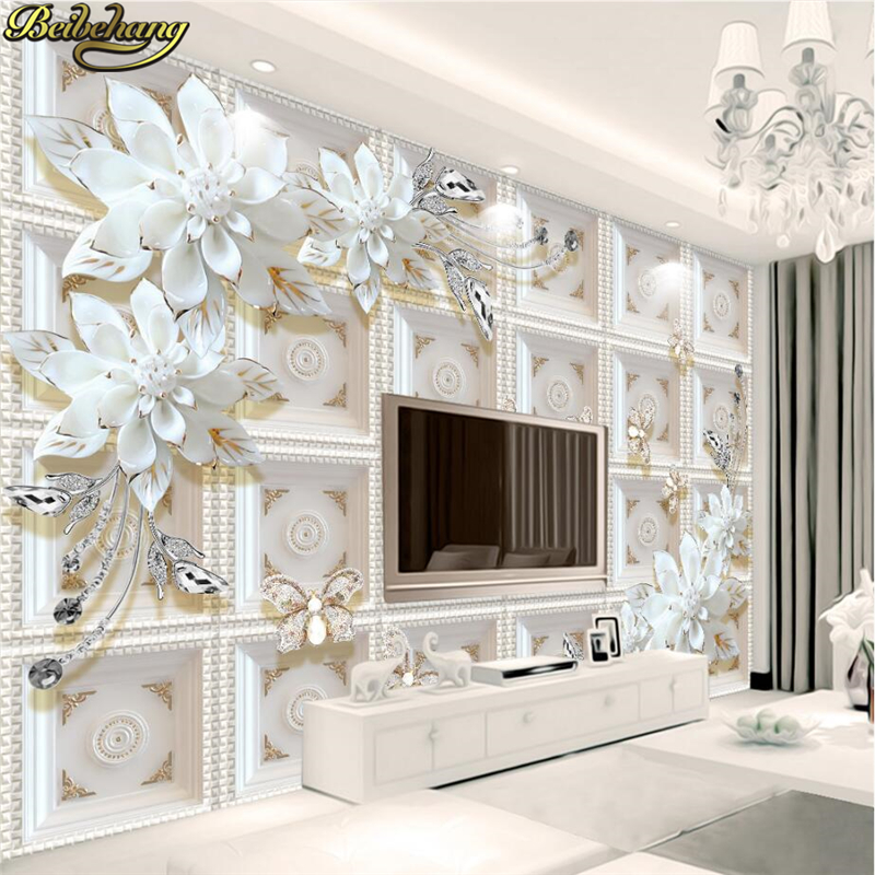 Beibehang Custom Photo Wallpaper Murals Three-dimensional Relief Jewelry Flowers European 3D Background Wall Paintings