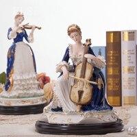 Топ класс Европа керамика играть Виолончель обувь для девочек Леди Статуя домашний декор ремесла ремесленных Винтаж орнамент фарфоровая