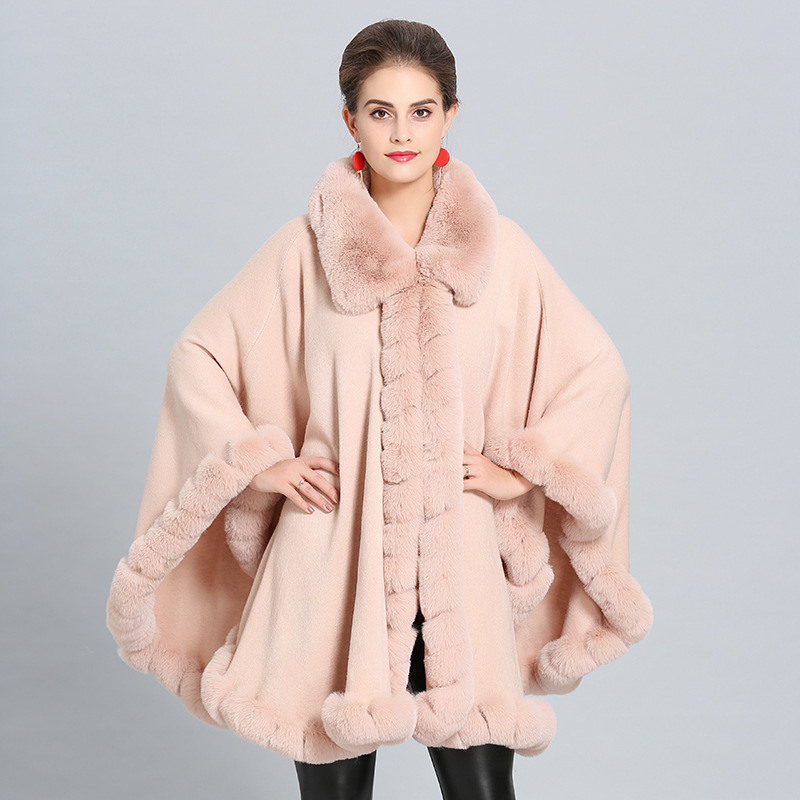 Winter imitation cashmere cloak shawls Spring Fashion Women Poncho Cardigan Female Red Wedding Cloak Shawl Fake Fox Fur Collar