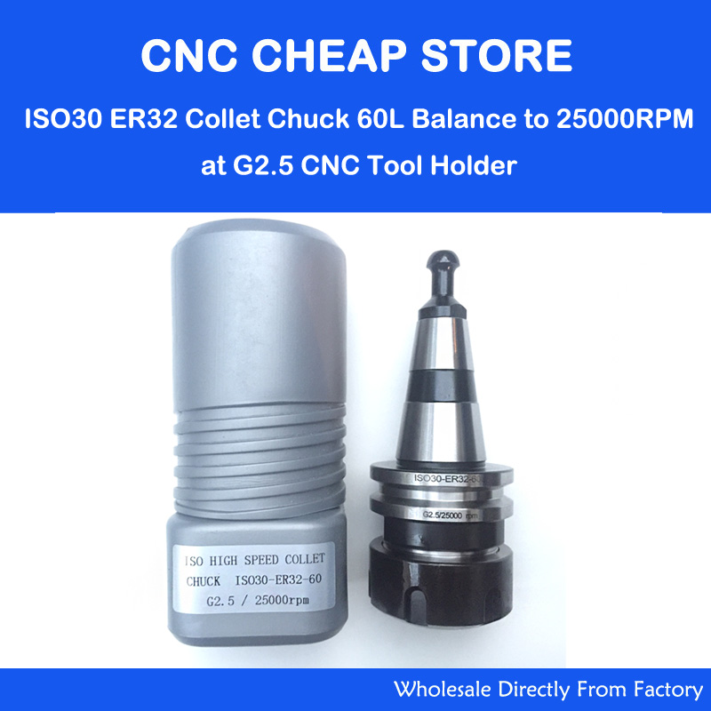 цены  ISO30 ER32-60L High Speed Spring Collet Chuck G2.5 25000RPM CNC Tool Holder milling cuter drill bit With Pull Stud Milling Lathe