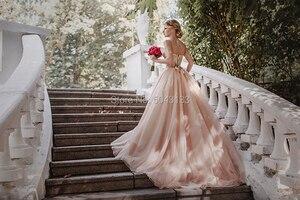 Image 2 - 매혹적인 블러쉬 핑크 Tulle 웨딩 드레스 2021 스파게티 스트랩 민소매 스팽글 신부 가운 오프 어깨 Vestidos de Noiva